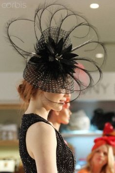 Lolita Victorian Derby Hat Fascinator Ruffled Mesh Trim Black Red Animal Print