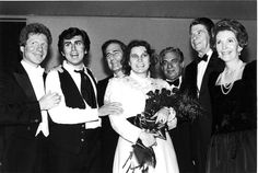 Opening night, 'La Boheme,' with Jerry Hadley and Gian Carlo Menotti photographed with the Reagans. Jerry Hadley has expressive eyes.