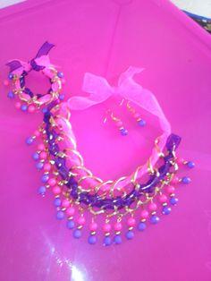 Maxicollar  y pulsera cadenas y cintas