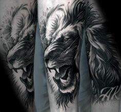 Shaded Black And Grey Ink Male Forearm Lion Tattoos