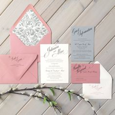 Dusty rose, gray and pale pink wedding invitations with a floral envelope liner by Inspiration I Do: www.etsy.com/shop/inspirationidodesign