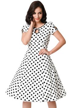 fb3e9b056d2e US  6.79 White   Black Dotted Cap Sleeve Swing Dress Frock Patterns