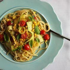 A healthy pasta dish using fresh summer veggies.