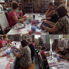 """Workshop """" Poncho Haken"""" in de winkel te Alken."""