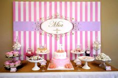 Amazing dessert table at a pink & gold baptism party! See more party ideas at CatchMyParty.com!