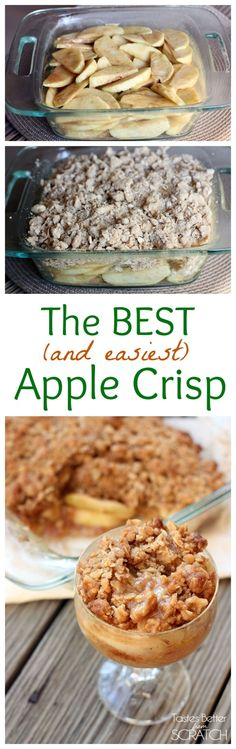 Thinly sliced Granny Smith apples baked with a cinnamon glazed and an oatmeal crumb topping! The BEST Apple Crisp Ever! Click through for recipe!