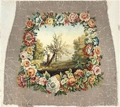 Artwork by French School, 19th Century, Four Aubusson cartoons for chair backs and a wall hanging including: A rural landscape within a garland of spring flowers (illustrated); Sheep amongst classical ruins; A capriccio landscape with goats; and A wolf with chickens within an acanthus leaf and floral border, Made of oil on canvas, backed onto linen