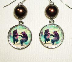 DANING BEARS EARRINGS - art jewelry for you