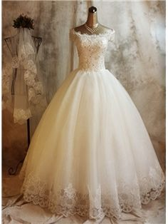 Beautiful Off the Shoulder Ball Gown Lace Wedding Dress