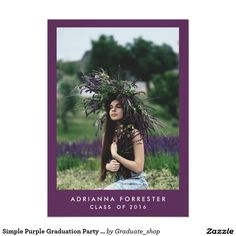 Simple Purple Graduation Party Photo 5x7 Paper Invitation Card