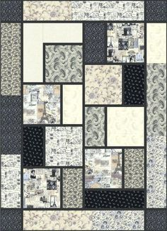 Letters From Paris The Big Block Quilt By Black Cat Creations For Those Big Thematic Prints You Cant Bear To Slice Up I Like The Paris Theme Here Easy Big Block Quilt Patterns Free Easy Big Block Qui