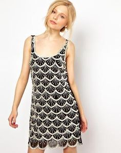 Lydia Bright Shift Dress in Embellished Deco Style