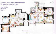 Rachel & Monica and Chandler & Joey  (Friends) apartament floor plan.