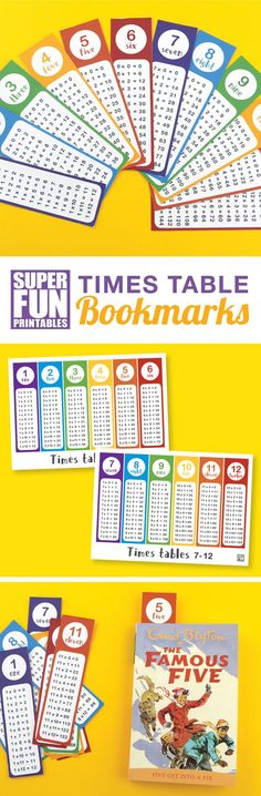 Printable times table bookmarks so kids can practice and learn their multiplication tables. This is a free printable which can also be used as a poster #timestables #multiplication #kidsideas #learning #math #mathematics #teacherspayteachers
