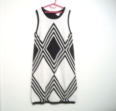 1980's Vintage Dress Black And White Cotton Knit by FabricDivaLady, $12.00