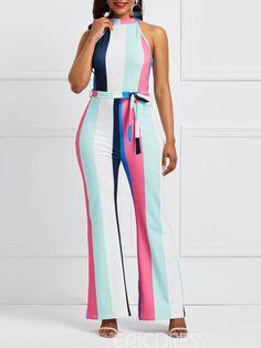 dee6956274 Ericdress Lace-Up Cold Shoulder Wide Leg Stripe Women s Jumpsuit Casual  Jumpsuit