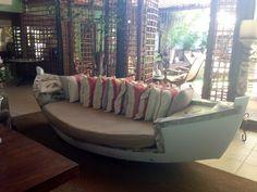 Sofá-barco, Pousada Refúgio da Vila, Praia do Forte, Bahia, Brazil Boat Furniture, Repurposed Furniture, Outdoor Furniture, Boat Bed, Deco Marine, Boat Seats, Outdoor Couch, Old Boats, Beach Shack