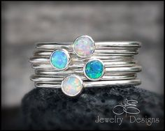 SOLID STERLING Silver - OPAL - Choose your Opal - Stacking Ring - stacking rings, stackable rings, gemstone stacking ring