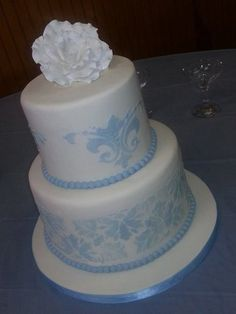 Baby Blue and White Damask Cake