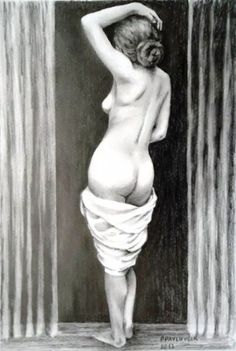 Peter Pavluvcik - naked female figure, drawing, pencil 1.
