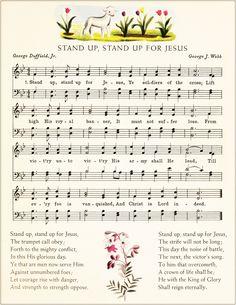 Stand Up For Jesus Hymn Art Note Cards or Nursery by GospelHymns This Is Gospel Lyrics, Great Song Lyrics, Gospel Music, Music Lyrics, Music Songs, Hymns Of Praise, Praise Songs, Worship Songs, Christian Song Lyrics