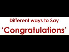 Different ways to Say 'Congratulations' English Grammar Online, Ways To Say Congratulations, Different, Education, Sayings, Youtube, Lyrics, Onderwijs, Learning