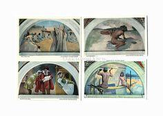 4 Library of Congress Vintage Postcards c1930s, Evolution of the Book, Washington DC, Antique Unused Ephemera, Lot 5, FREE SHIPPING $9.75