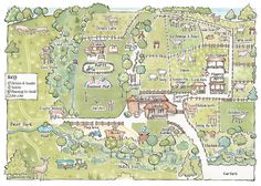 Map of Bucklebury farm Tourist Map, Deer Park, Flowering Trees, Beautiful Gardens, Things That Bounce, Scotland, City Photo, Vintage World Maps, Tourism