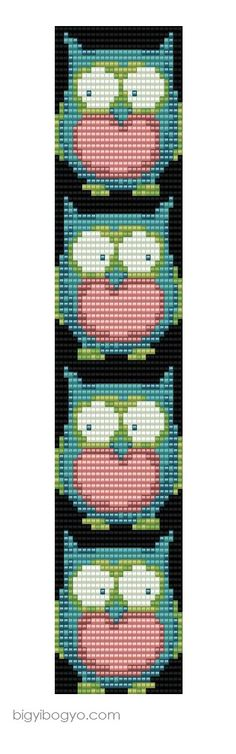 Bead Weaving Pattern for a bracelet or necklace. The owls are so cute! Cross Stitch Owl, Cross Stitch Bookmarks, Beaded Cross Stitch, Cross Stitching, Cross Stitch Embroidery, Owl Patterns, Bead Loom Patterns, Peyote Patterns, Weaving Patterns