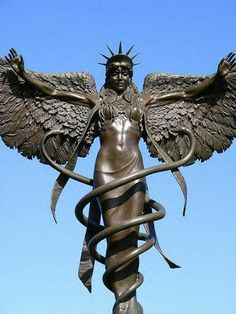 The Hermetic Library Ishtar Angel Caduceus Statue Bronze Sculpture, Sculpture Art, Snake Totem, Statue Ange, Double Headed Eagle, Templer, Sacred Feminine, Angels Among Us, Gods And Goddesses