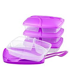 Food Container with Lid – Set of Cutlery Included, Bento Lunch Box – Lunch Containers - Purple – Set of 3 Food Storage Cabinet, Storage Buckets, Bag Storage, Storage Organization, 3 Compartment Food Containers, Lunch Containers, Food Storage Containers, Food Storage Calculator, Bento Box Lunch