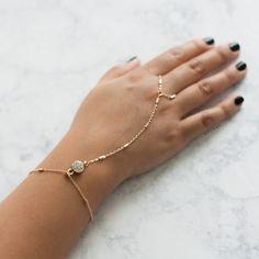 Single Faux Jewel Hand Bracelet