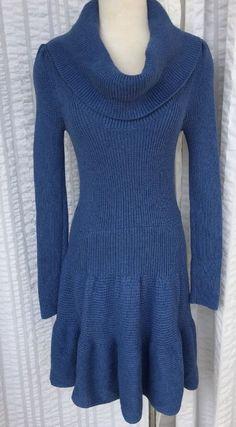 Moda International Victoria's Secret Long Sleeve Sweater Dress Blue Cowl Neck #ModaInternational #sweaterdress #Casual