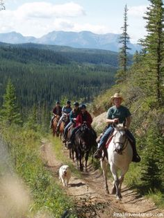 Guided horseback trail rides along the Athabasca River near Jasper National Park offered May to October. Scenic foothills trails with spectacular mountain views.