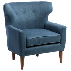 Mid-century Blue Linen Wing Chair