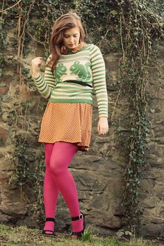 Discover this look wearing Chartreuse Topshop Sweaters, Tawny Polka Dot Topshop Dresses - little creatures by junebabie styled for Eclectic, Everyday in the Spring Pantyhose Outfits, Nylons, Cute Skirt Outfits, Cute Skirts, Girl Outfits, Mini Skirts, Colored Tights Outfit, Pink Tights, Opaque Tights