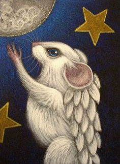 Art: WHITE ANGEL RAT MICE MOUSE 1 by Artist Cyra R. Cancel