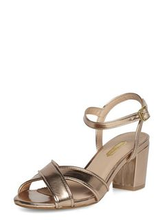 Rose gold block heel sandals €28