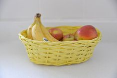 What colour is mustard? - Pintyplus spray chalk paint. Painted wicker basket used for fruit bowl in kitchen Spray Chalk, Chalk Paint, Painted Wicker, Shades Of Yellow, The Conjuring, Dark Wood, Mustard, Basket, Colour