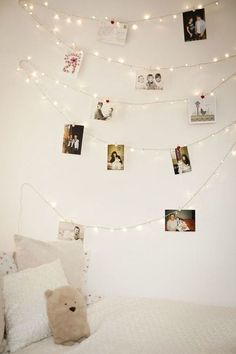 13.  Hang Your Photos On A String Of Lights!