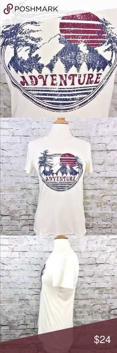 "{Modern Lux} Adventure On T-Shirt Top Size XS NWT NWT Modern Lux T-Shirt  Women's / Junior's Size XS New with tags 53% Cotton / 47% Polyester Ivory color 'Adventure On' graphic Front Length = 25"" Back Length = 28"" Chest / Bust = 32"" Sleeve Length = 7""  Thank You For Your Business! Modern Lux Tops Tees - Short Sleeve"