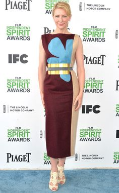 "Cate Blanchett from 2014 Film Independent Spirit Awards: Red Carpet Arrivals | E! Online  I will kinda let Cate Blanchett slide because her film is ""Blue Jasmine"" (get it? blue flower? *eyeroll*... hideous)"