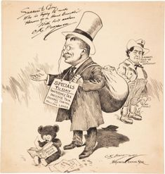 Teddy Roosevelt political cartoon depicting his various economic changes featuring a teddy bear