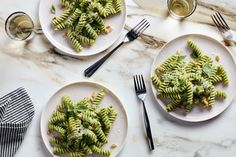 Blanching fresh basil leaves before blending is the key to this vibrant, ultra-herby pesto. Perfect for pasta, it also dresses up pizza, scrambled eggs, and more.
