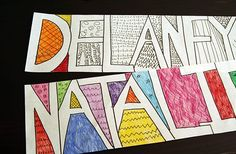 Get Colorful with Doodle Names doodle names drawing activity for kids for parents and kids to do together love make and takes projects! thanks mariel The post Get Colorful with Doodle Names appeared first on School Ideas. Art 2nd Grade, Doodle Name, Name Drawings, Classe D'art, Drawing Activities, Ecole Art, Middle School Art, High School, School School