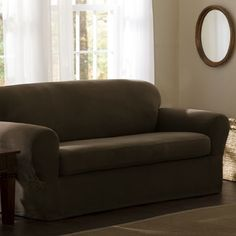 Spruce Up Your Room With Modernity And Elegance In This Solid Covered  Reeves Stretch Sofa Slipcover. The Stretch Fabric On This Slipcover  Conforms To Unique ...