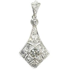 Deco Diamond Pendant | Art Deco Diamond Wedding Pendant platinum by adinantiquejewellery