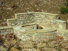 Stacked Stone Corner Firepit with Retaining Wall