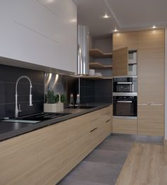 Kitchen-living room Kitchen-living room on Behance Kitchen Design Small, Contemporary Kitchen Design, Contemporary Kitchen, Kitchen Remodel, Living Room Kitchen, Kitchen Cabinet Design, Modern Kitchen, Kitchen Room Design, Kitchen Interior