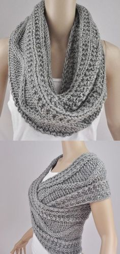 scarf how to wear a Hand knit woman sweater wool vest Cross Sweater Capelet Neck warmer scarf grey-Ready to ship Wool Vest, Knit Vest, Knit Cowl, Scarf Vest, Poncho Outfit, Vest Jacket, Loom Knitting, Hand Knitting, Crochet Scarves